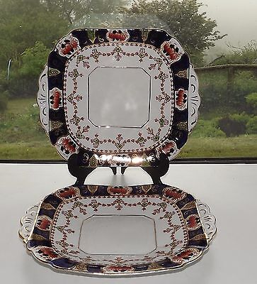 Melba Bone China 1930s Imari Cobalt Blue and Rust 2 x Cake Plates  21cm