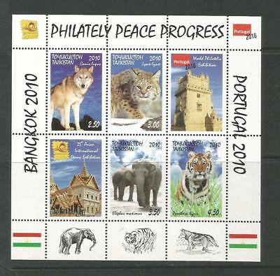Tajikistan 2010 Animals Stamp Exhibition Portugal - Bangkok. MNH