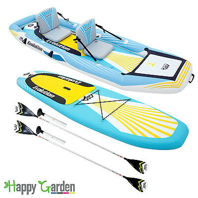 Stand Up Paddle/Kayak gonflable 2-en-1 EVOLUTION avec 2 pagaies et sac de rangem