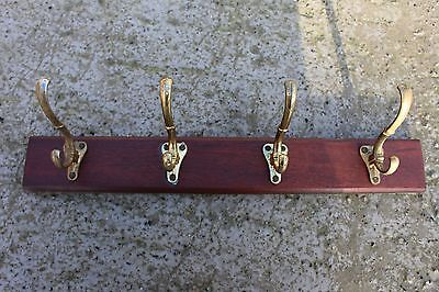 Vintage Wooden Coat Hat Wall Rack with 4 Brass Hooks