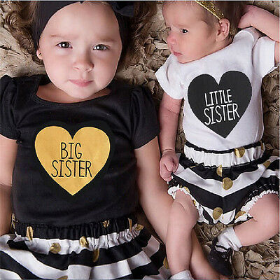 Sisters Matching Kids Baby Girls Romper Pants Set T-shirt Dress Outfits Clothes