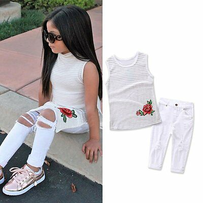 2PCS Summer Kids Baby Girls Outfits T-shirt Tops Dress+Jeans Pants Clothes Sets