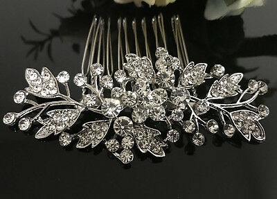 silver tone hair comb bridal wedding crystal rhinestone hair accessories ha3204