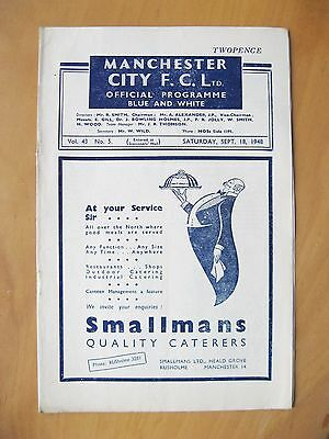 MANCHESTER CITY v PORTSMOUTH 1948/1949 *Excellent Condition Football Programme*