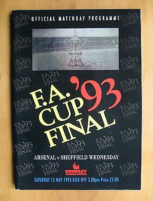 1993 FA Cup Final ARSENAL v SHEFFIELD WEDNESDAY Exc Condition Football Programme