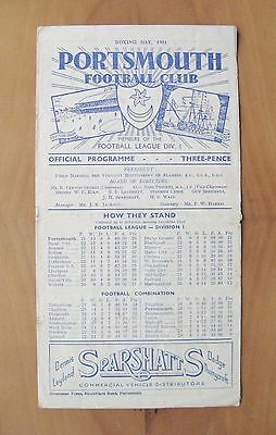 PORTSMOUTH v ARSENAL 1951/1952 *Fair Condition Boxing Day Football Programme*