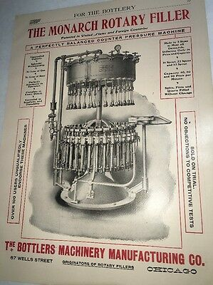 Monarch Rotary Filler Beer Brewing Equipment Chicago Advertising Sign Litho 1907