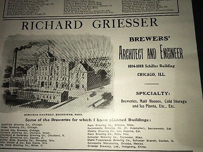 Griesser Beer Brewery Architect 1907 Ad Chicago Schuster Rochester Minnesota