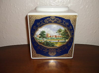 COLLECTABLE ROYAL CAULDON BRISTOL BLUE GILDED 12oz TEA CADDY NO LID TWININGS
