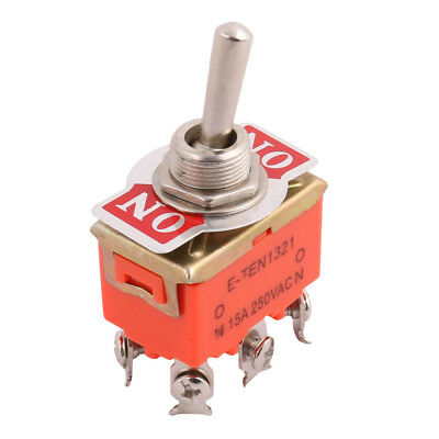AC 250V 15A ON/ON 2 Position DPDT 6 Terminals Latching Toggle Switch Orange