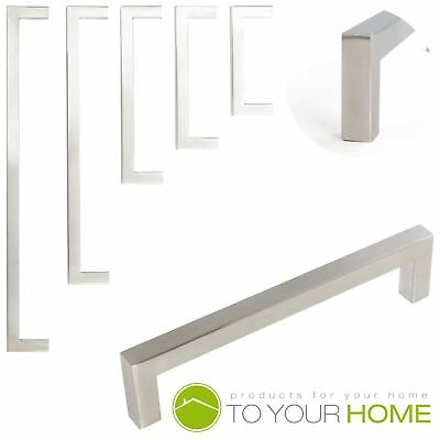 Dihl Square Brushed Steel Kitchen Cupboard Cabinet Drawer Door Handles 5 Sizes