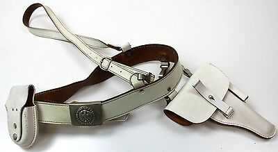 (5) German Army Military Police White Leather Sam Browne Belt + Pouch + Holster