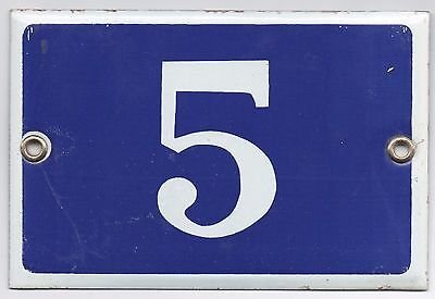 Old blue French house number 5 door gate plate plaque enamel metal sign steel