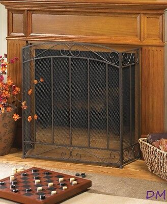 Classic Tri-Fold Fireplace Screen with Scrolling Flourishes