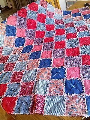 NEW Handmade rag QUILT red, white, & blue PATRIOTIC picnic blanket 4th of July
