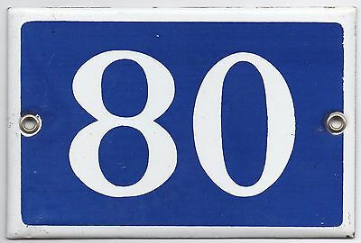 Old blue French house number 80 door gate plate plaque enamel metal sign steel