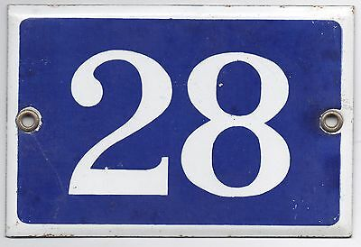 Old blue French house number 28 door gate plate plaque enamel metal sign steel