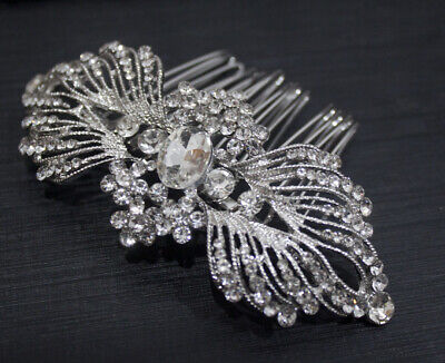 Silver tone hair comb bridal wedding crystal rhinestone hair accessories ha3201