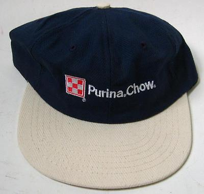 VTG Purina Chow Feed Navy Blue Tan Advertising Hat Cap Made in USA Checkerboard