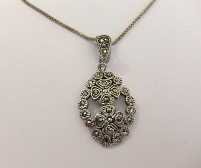 Vintage Art Deco 900 AG Silver & Marcasite Pendant On Sterling Silver Chain 3138