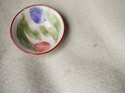 Vintage Collectable Glazed Small Dish Pink Blue Crocus Brown Rim Jersey Pottery