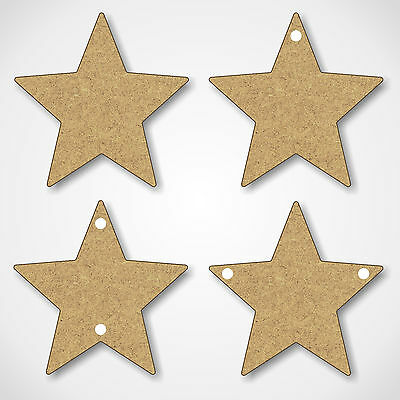 MDF Stars Shapes Wooden Craft Blank Embellishments - With Hanging Hole Options