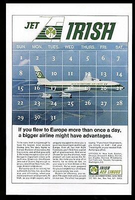 1966 Aer Lingus plane flying color photo and calendar vintage print ad