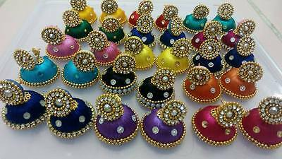 Bollywood fashion jewellery silky thready multy color 15 pair of jhumka earrings