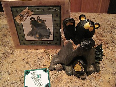 "Big Sky Carvers Bearfoots Bears  #50361 "" ANDY "" CABIN Collectible NEW HeavyCUTE"