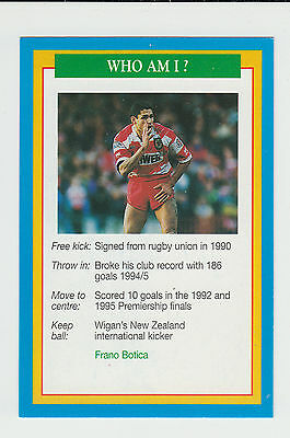 Rugby League : Frano Botica : New Zealand : UK sports game card - blue back