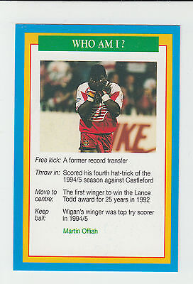 Rugby League : Martin Offiah : Wigan : UK sports game card - blue back