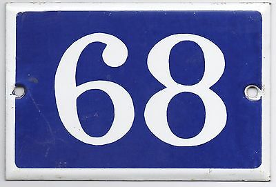 Old blue French house number 68 door gate plate plaque enamel metal sign steel