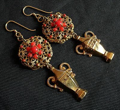 Vintage Earrings Antique Filigrees W/ Coral Glass Stones & Urn Drops