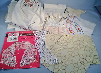 Lot Vtg Linen Junk Drawer~Embroidered Curtains~Lace Collar~Good & Cutters