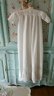 Antique vintage christening gown embroidery *lace*lorn linen beautiful