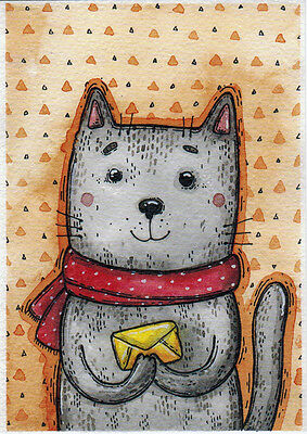 MAIL FOR YOU Grey cat delivers letter Russian modern card by T.Samoshkina