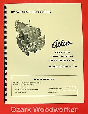 "ATLAS/Craftsman 10"" Quick Change Gear Box Installation & Part Manual 0054"