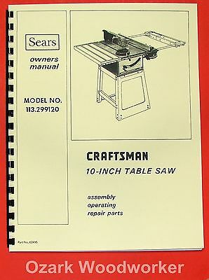 "CRAFTSMAN 10"" Table Saw 113.299120 Operator & Parts Manual 0169"