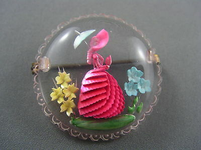 DARLING! Vtg c.1950's Reverse Carved Lucite BEAUTIFUL Colorful LADY Brooch