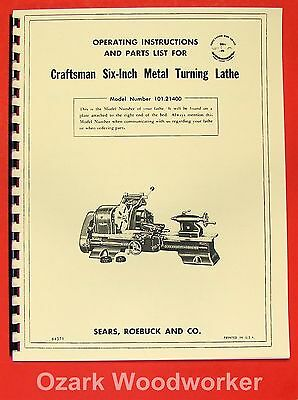 "CRAFTSMAN/ATLAS 6"" Metal Lathe 101.21400 Owner's Manual ~REVISED 0190"