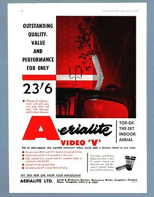 "The  AERIALITE  VIDEO ""V"" INDOOR TELEVISION AERIAL  (1963 Advertisement)"