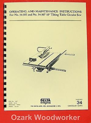 "DELTA-MILWAUKEE 10"" Arbor Table Saw 34-305, 34-307 Operator & Parts Manual 0237"