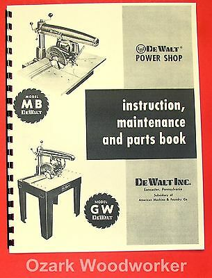 DEWALT MB & GW  Radial Arm Saw Instructions & Parts Manual 0261
