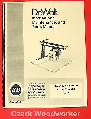 "DEWALT PowerShop 7730 10"" Radial Arm Saw Instruction & Parts Manual 0256"