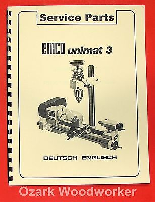 EMCO Unimat 3 Mill Metal Lathe Parts Manual 0302