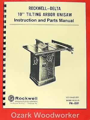 "ROCKWELL Older 10"" Unisaw Table Saw Part Manual 34-450 0615"