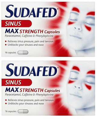 32 x Sudafed Blocked Nose & Sinus Max Strength Capsules Non Drowsy FREEPOST