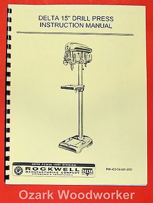 "ROCKWELL-DELTA  15"" Drill Press DP-500 Operators & Parts Manual 0633"