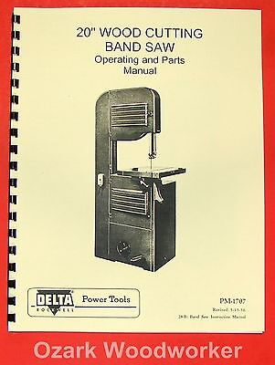 "ROCKWELL-DELTA  20"" Band Saw Operators & Parts Manual 0634"