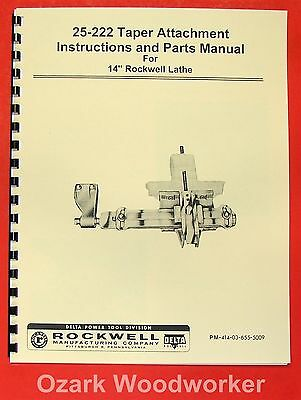 "ROCKWELL-Delta 14"" Taper Attachment 25-222 Manual 0636"